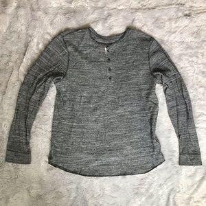 EXPRESS Henley Long-Sleeve Shirt, Marled Grey